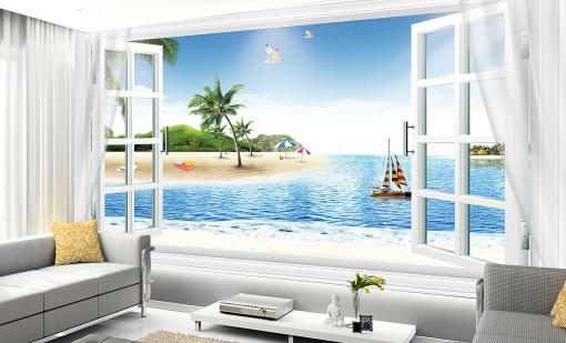 3D Window Sea Beach 83 Wall Paper Murals Wall Print Wall Wallpaper Mural AU Kyra