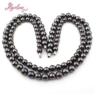 10mm-11mm-Black-Round-Hematite-Natural-Stone-Beads-Fashion-Jewellery-Necklace