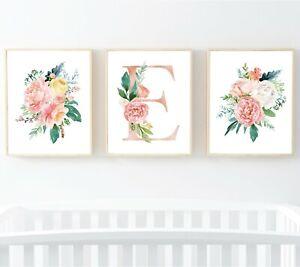 Blush Rose Oro Floral Monograma Personalizado flores de vivero Impresiones Art 3 618-A