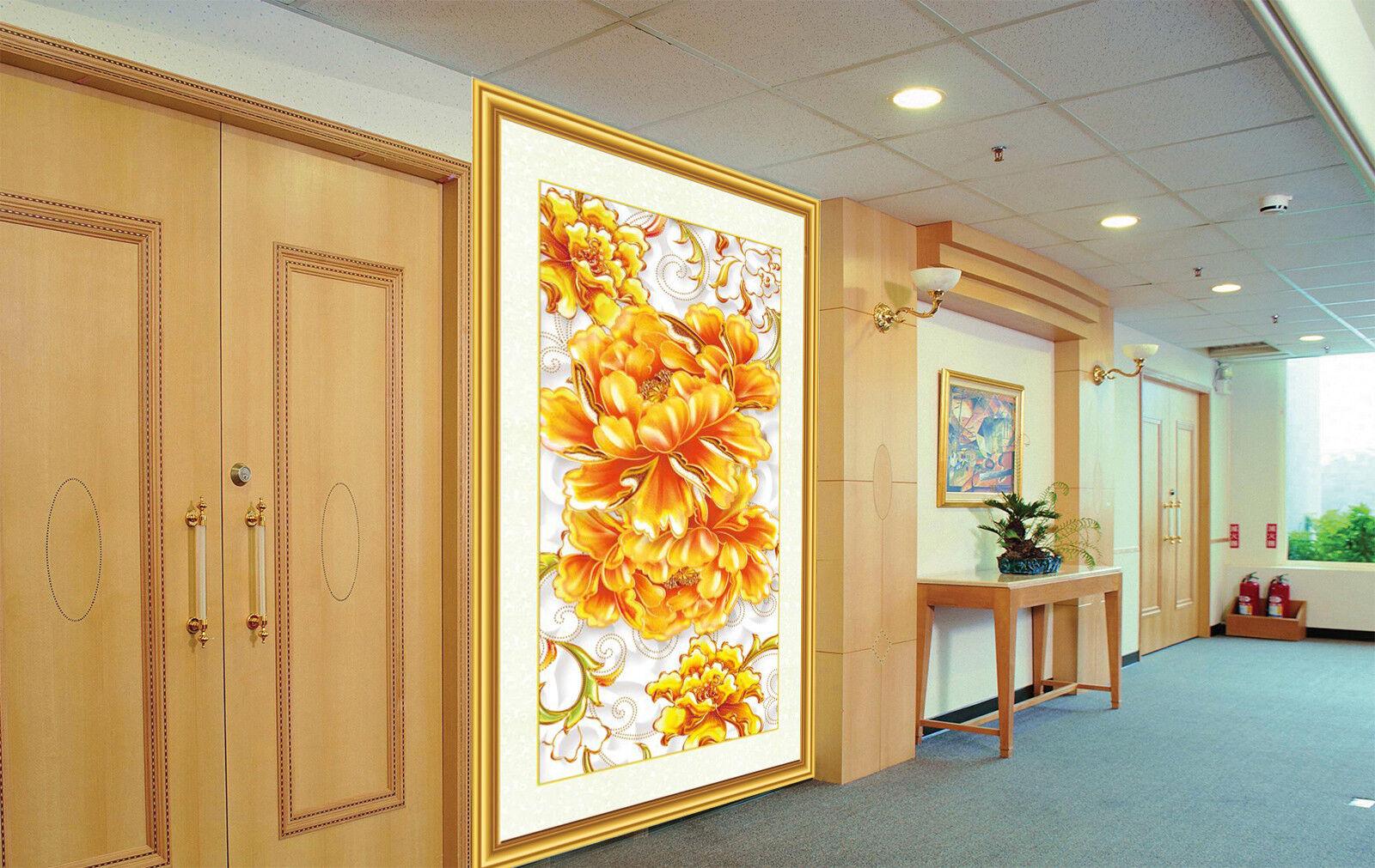 3D orange Flower 84 Wallpaper Mural Wall Print Wall Wallpaper Murals US Carly