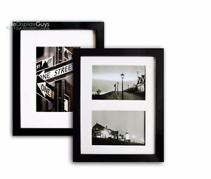 """2pcs of 8""""x10 OR 11""""x14"""" Solid Black Pine Wood Photo Picture Frame W Real Glass"""