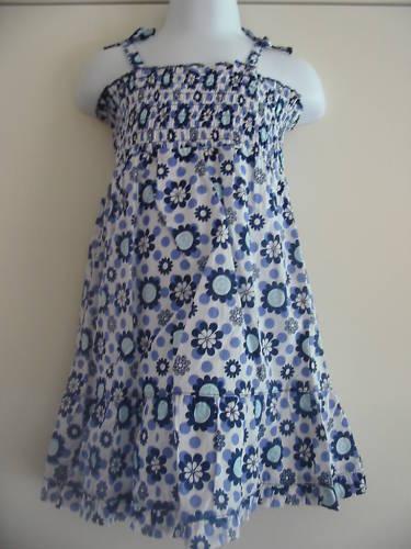 BNWT Cherokee Azul Floral Print Sol Vestido 12-18 Meses
