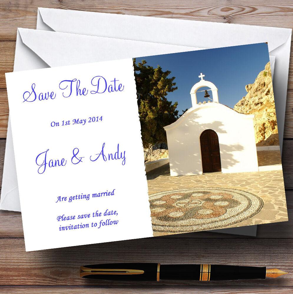 St mariage Pauls Lindos Rhodes / mariage St personnalisé à l'étranger save the date cards e4a7a5