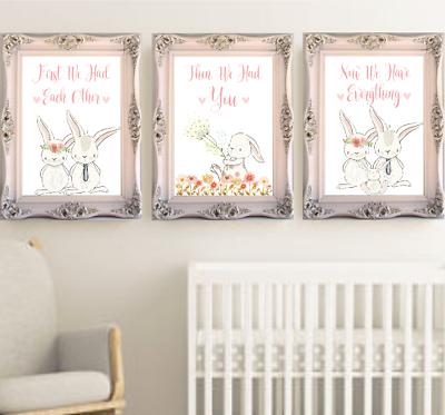 Baby Room Art Print First We Had Each Other Bunny Rabbit Nursery Prints Set