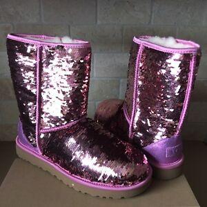 72ba8653c2d Details about UGG Classic Short Pink Sparkles Sequin Sheepskin Boots Size  US 5 Womens