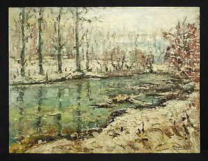 Tafel-Unterzeichnet-Landschaft-Schneebedeckt-Neo-Impressionist-50-cm-X-65-CM
