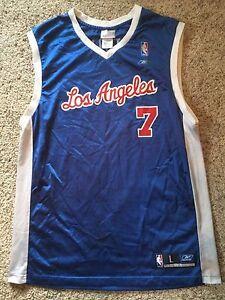 best sneakers df0c8 c704e Details about Lamar Odom #7 LOS ANGELES CLIPPERS NBA Reebok Blue White VTG  Jersey Size Mens L