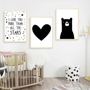Details about Bear Heart Canvas Poster Nursery Quote Wall Art Print Baby  Bedroom Decoration
