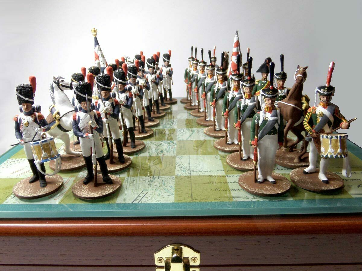 Chess, Bgolddino, French and Russian soldiers, Metal,54mm