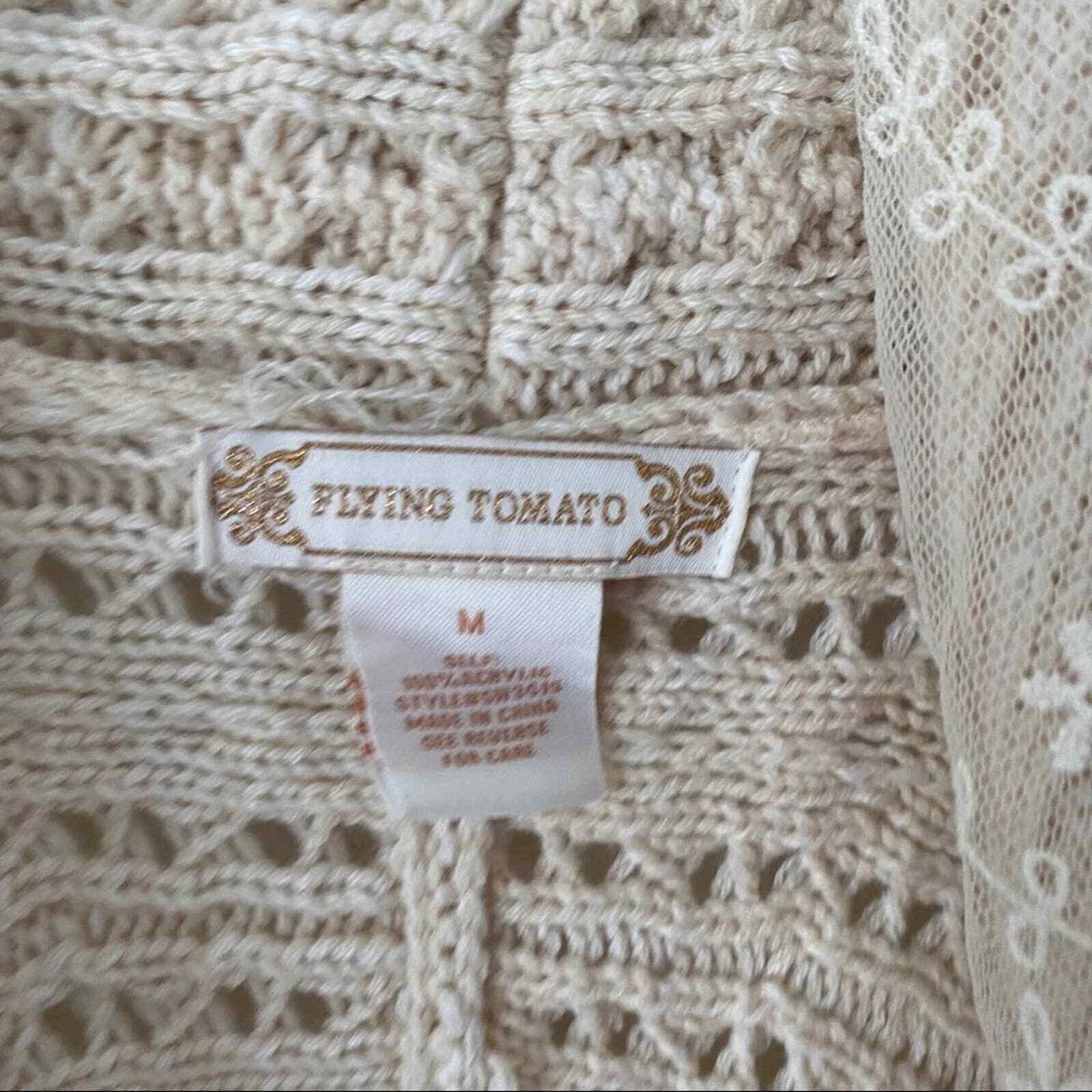 Flying Tomato Cream Lace Crochet Sweater Vest - image 3