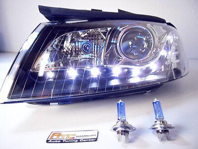 Scheinwerfer Audi A3 8P LED Tagfahrlicht Optik schwarz Bj.2003-2008 Europaweit z