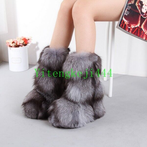 Women Plushed 100% Natural Real Fox Fur Boots Long Bootleg Fur Boots Luxury New