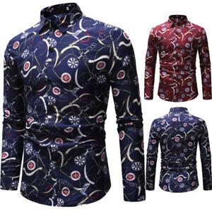 NEW-Men-Slim-Fit-Casual-Shirt-Men-039-s-Luxury-Long-Sleeve-Tops-Blouse-Tee-Shirts