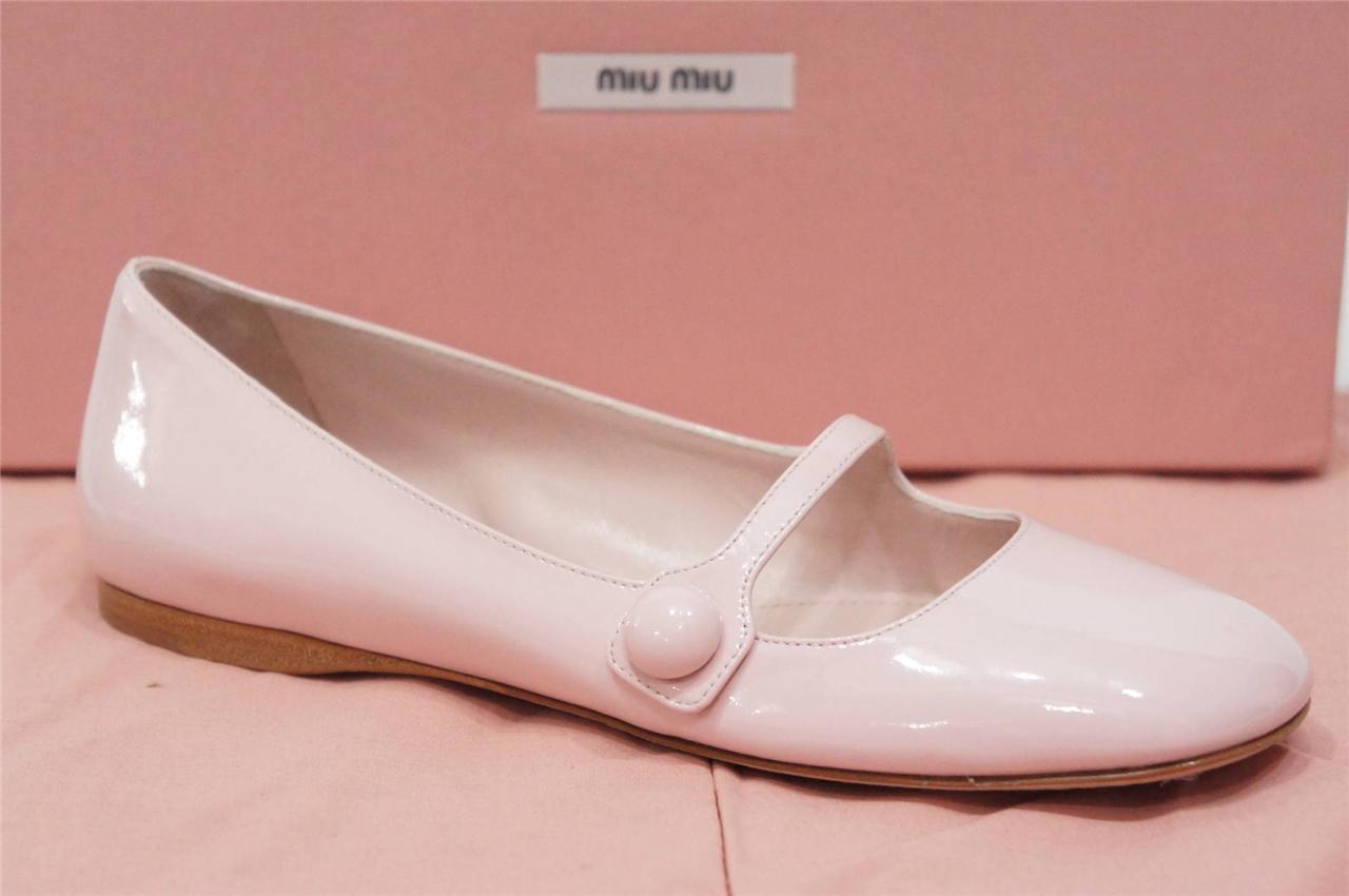 Miu Miu Mary Jane Jane Jane bleush Cuir Verni Ballerines Chaussures 36 6  475 841881