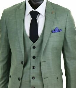 Men's Lt Green Black Check 3 Piece Tailored Fit Marc Darcy Wedding Prom Suit