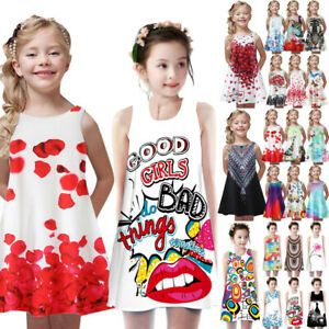 Toddler-Girls-Summer-Princess-Dress-Kids-Baby-Print-Sleeveless-Dress-Skirt