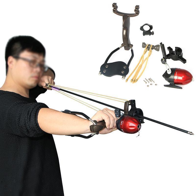 Hunting Bow Fishing Slingshot Shooting Catapult + 3pcs Fishing Fiberglass Arrows