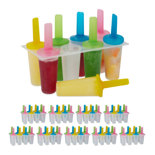 80 x Eisformen rund Kinder Eis am Stiel DIY Set Stieleis Popsicles Kunststoff