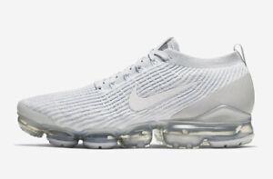 New-Nike-Men-039-s-Air-VaporMax-Flyknit-3-Shoes-AJ6900-102-White-Pure-Platinum