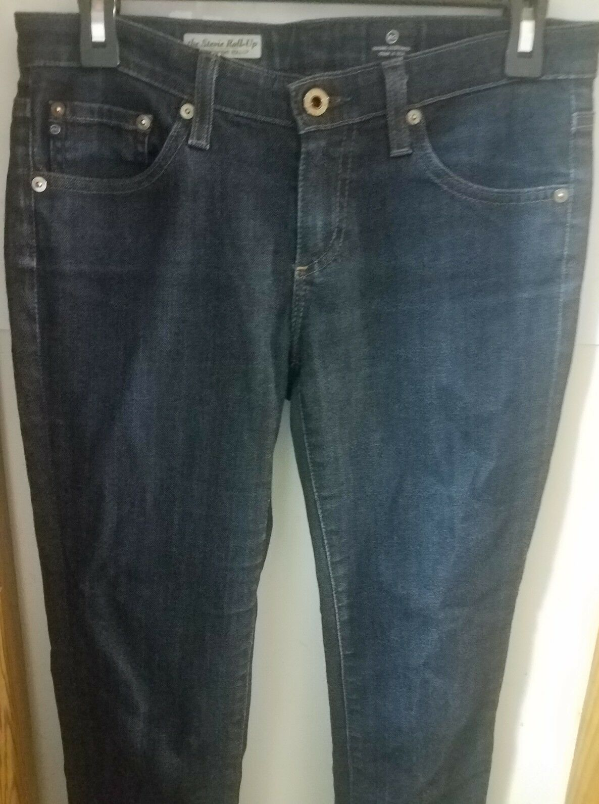 198 AG Dark bluee  The Stevie Roll Up  Slim Straight Leg Jeans sz 27Rx24