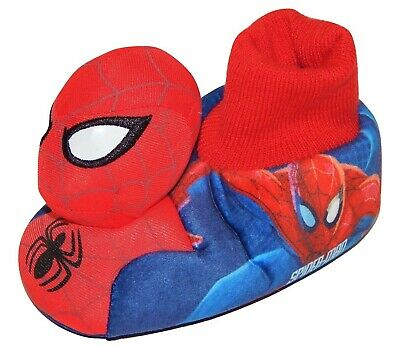 SPIDER-MAN MARVEL Light-Up Eyes Sock-Top Slippers Sz 5-6 7-8 9-10 or 11-12  NWT