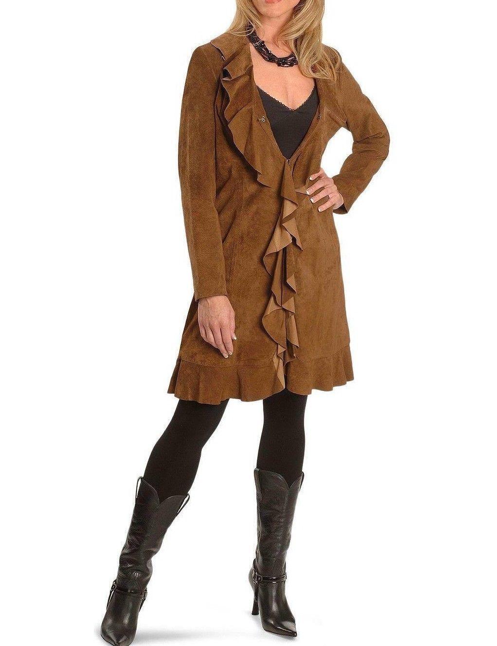 women brown Cuero de Gamuza Volante fruncido Abrigo Dama de Vaca Chaqueta
