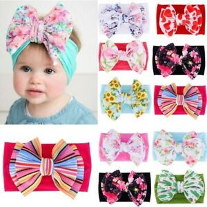 Newborn-Baby-Kids-Bow-Headband-Soft-Turban-Floral-Headwear-Hairband-Headwrap-TS