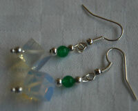 Unique handmade opalite cubs & green beads silver plated earrings + stoppers