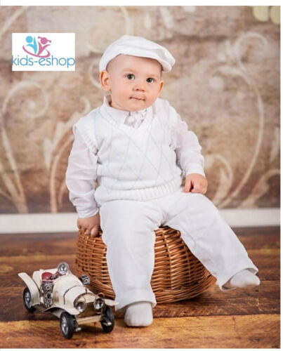 Baby Boy White Formal  Wedding Christening Formal Party 5 Piece Outfit  0-18 M