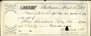 1851 Baltimore Maryland (MD) Holden & Co Assurance receipt Simms William Simms