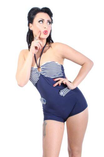 UNIFORM Bandeau Neckholder Streifen Sailor rockabilly retro Badeanzug