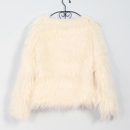 Fashion Women Fluffy Shaggy Faux Fur Warm Coat Cardigan Jacket Outwear Tops O0V0