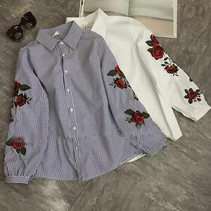 Women-Floral-Embroidery-Stripe-Button-Shirt-Long-Sleeve-Casual-Campus-Blouse-Top