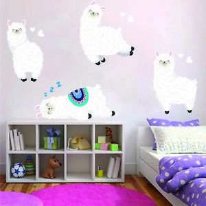 Details about Llama 4 Pack Wall Stickers Child Girls Bedroom Wall Art Baby  Nursary Decal Ll4P