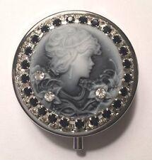 ~Vintage Look Cameo Beauty~ Black & White Crystal Rhinestone Round Pill Box! USA