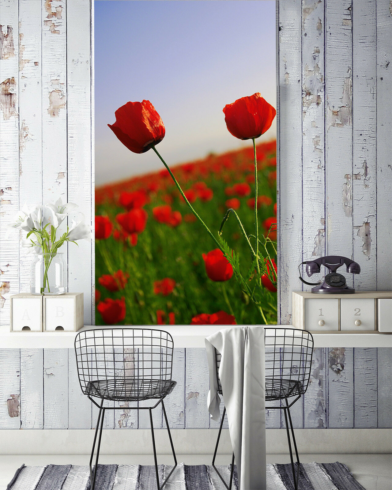 3D Red Flower Field 53 Wall Paper Wall Print Decal Wall Deco Indoor Mural Summer