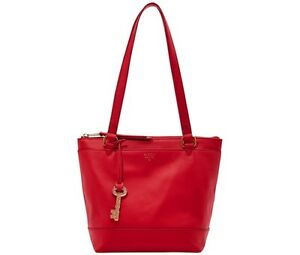 13789326c0 Details about BRAND NEW FOSSIL GIFTING SMALL LEATHER SHOPPER TOTE BAG RED  #ZB6700