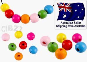 40x-Wood-Beads-Round-12mm-Mix-Colour-Craft-Kids-DIY-Necklace-Bracelet-PACK
