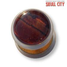 RED TIGER EYE GOLD GEMSTONE FAKEPLUG - Fake Piercing Stone Plug Ohrstecker Auge