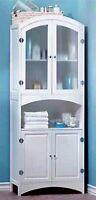 63 Linen Cabinet W/ Glass Doors 3 Bottom & 2 Top Shelves In Cabinet