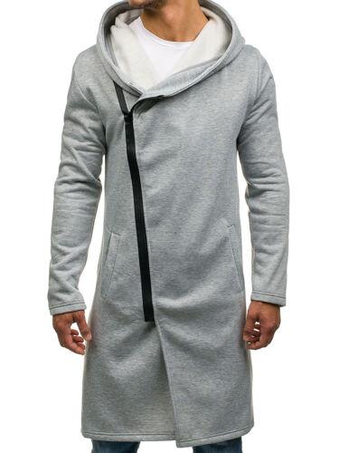 Herren Kapuzenpullover Hoodie Sweatjacke Asymmetrisch Zip Pulli BOLF 1A1 Lang