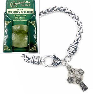 Irish Connemara Marble Worry Stone Amp Celtic Cross Bracelet
