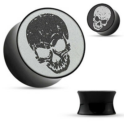 Acryl Plug Totenkopf Skull Mumie Ohr Piercing Saddle Fit Plug Gothic schwarz