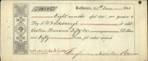 1849 Balitmore Massachusetts (MA) Receipt VW Goldeborough Baughman Nicholson Ham