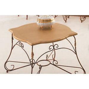 Tavolino in Ferro Battuto Bronzo Piano in Legno Verniciato Oro | eBay