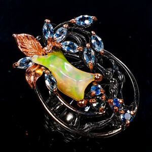 Opal-Ring-Silver-925-Sterling-Top-AAA-Rough-Gemstone-Size-8-5-R132330