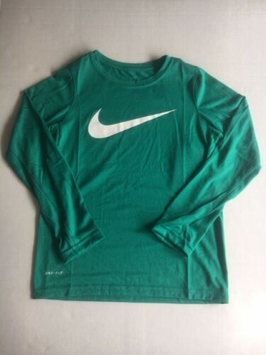 Nike Big Boys Dry Dri-Fit Long Sleeve Athletic Training Tee T-Shirt Green Red
