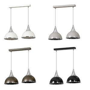 Pendant-Ceiling-2-Light-Chrome-Finish-Lampshade-Industrial-Retro-Modern-Fitting