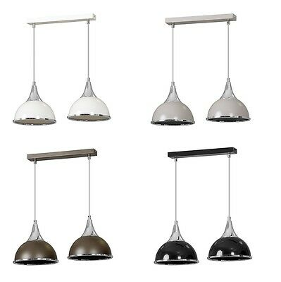 Pendant Ceiling 2 Light Chrome Finish Lampshade Industrial Retro Modern Fitting