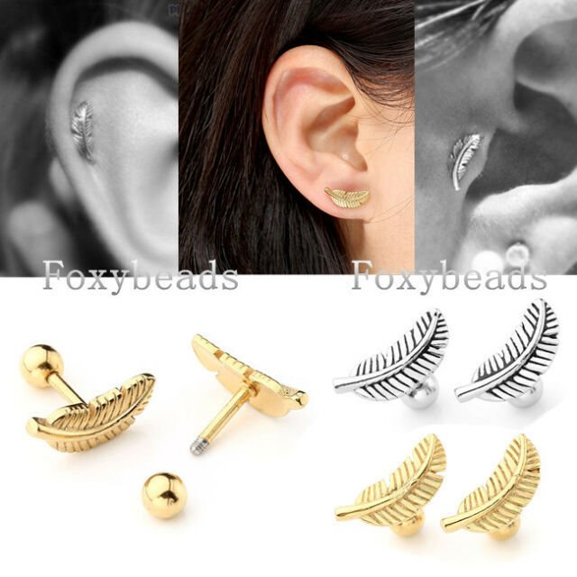 Unisex 2x 16G Stainless Steel Feather Cartilage Helix Tragus Ear Studs Earring F